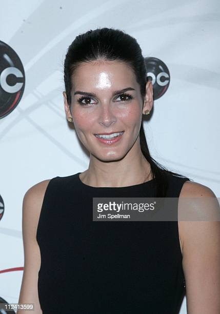 Angie Harmon during 2007 ABC UpFront Inside Arrivals at Lincoln Center Plaza in New York City New York United States