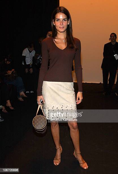 Angie Harmon during MercedesBenz Fashion Week Spring Collections 2003 Michael Kors Show Front Row at Bryant Park in New York City New York United...