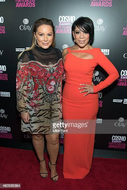 Angie Martinez and Selenis Leyva attend the 2015 Fun Fearless Latina Awards at Hearst Tower on October 13 2015 in New York City