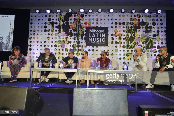 Angie Martinez Bad Bunny Jonathan Gandarilla Messiah Bryant Myers Noriel and Santana during The Billboard Latin Music Conference Awards The Latin...