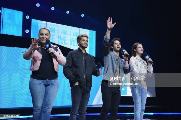 Angie Martinez Jordan Fisher Darren Criss and Bailee Madison speak on stage during WE Day New York Welcome to celebrate young people changing the...