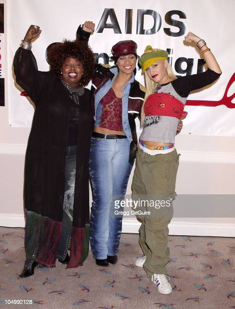 Angie Stone Alicia Keys Gwen Stefani during Press Conference for Call For Action Stop Global AIDS Campaign at MGM Grand Hotel in Las Vegas Nevada...
