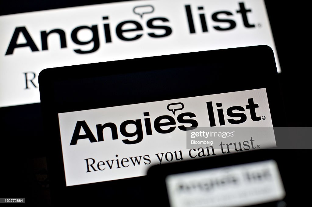 Angie's List logos are displayed for a photograph in Tiskilwa, Illinois, U.S., on Tuesday, Feb. 26, 2013. Angie's List, the consumer-review website, surged earlier this month to the highest price in more than 10 months after forecasting sales that beat estimates as more members pay to use the service. Photographer: Daniel Acker/Bloomberg via Getty Images