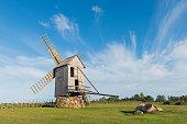Traditional windmill in Angla, island of Saaremaa, Eastonia, Nice summer day.
