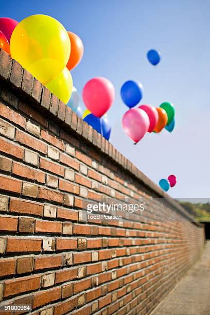 Angled Brick Wall with Balloons