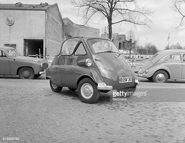 Angled front view of a BMW Isetta minicar Photograph circa 1950's