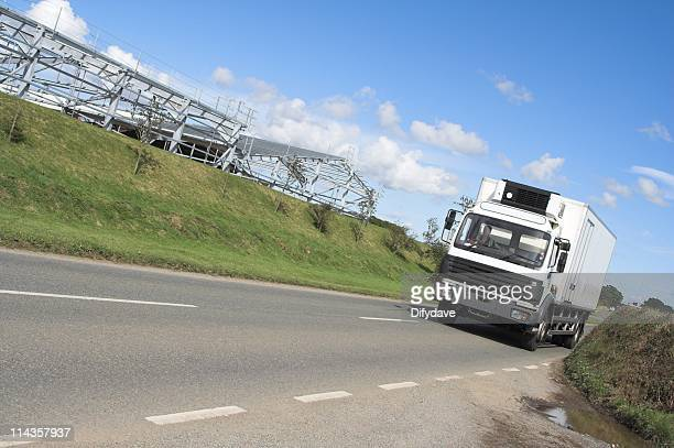 Angled Shot Of Delivery Lorry Travelling At Speed