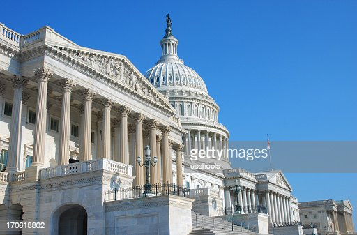 Angled shot of the US Congress building