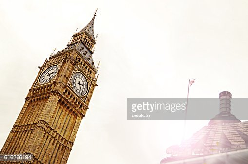 Angled view of Big Ben Tower of London city : Stock Photo