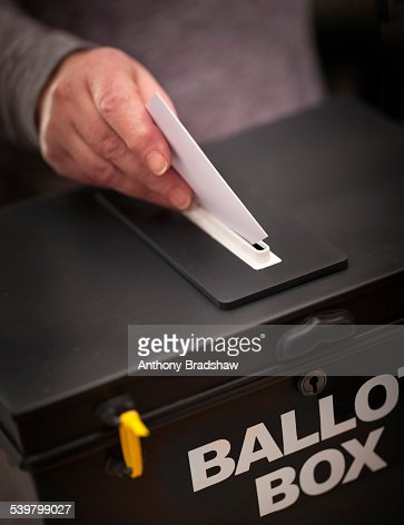 Angled view of casting a vote