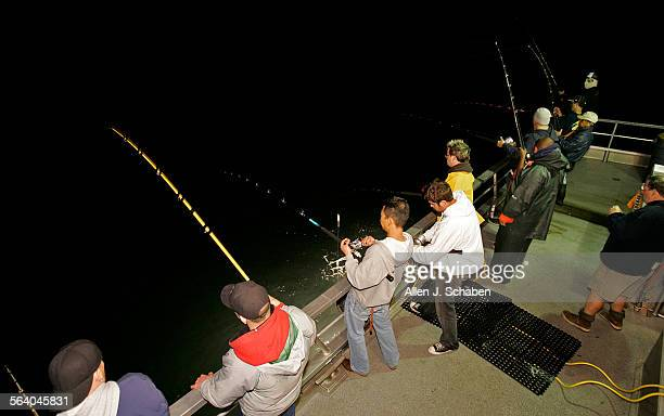 Anglers fish for Humboldt Squid off the New Del Mar with Marina Del Rey Sport Fishing off the coast of the Palos Verdes Peninsula Wednesday March 7...