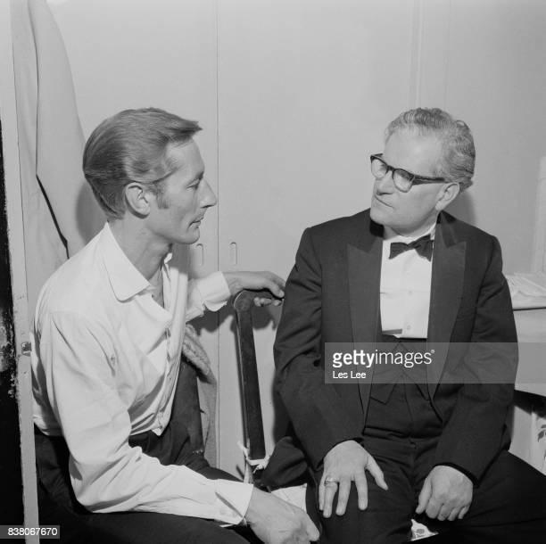 Anglican Bishop of Southwark Mervyn Stockwood with English theatre and film actor John Neville 23rd July 1963