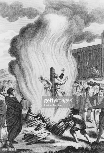 Anglican bishops Hugh Latimer and Nicholas Ridley two of the Oxford Martyrs are burned at the stake outside the city walls of Oxford 16th October...