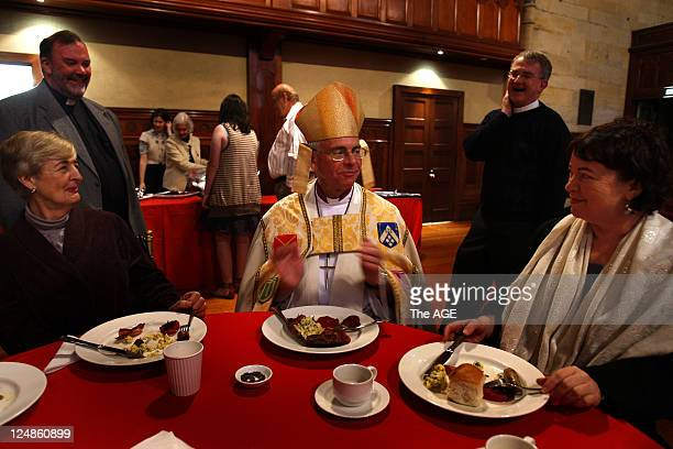Anglican Dean Mark Burton joins his congregation for a cooked breakfast after the 6am service at St Paul's Easter Service at St Pauls The Right...