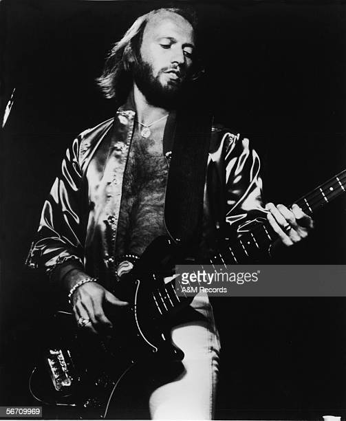 AngloAustralian singer and musician Maurice Gibb of the pop and disco band The Bee Gees wears a satin jacket with no shirt underneath as he plays the...
