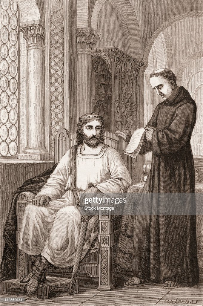 Anglo-Saxon scholar Alcuin (or Albinus) (c.732 - 804) (right) accepts an invitation from Charlemagne (742 - 814) to become head of the Palatine school of Aachen, 781.