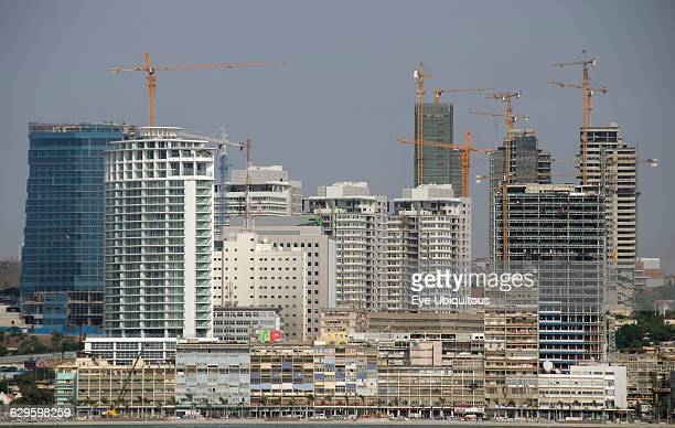 Angola Luanda Seafront promenade with old buildings in foreground and new buildings under construction in background