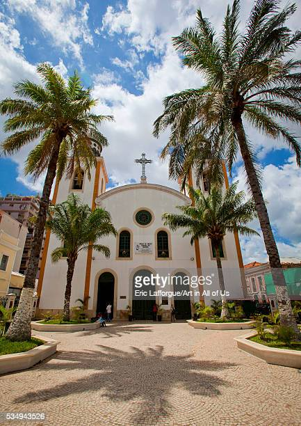 Angola Southern Africa Luanda church and palm trees