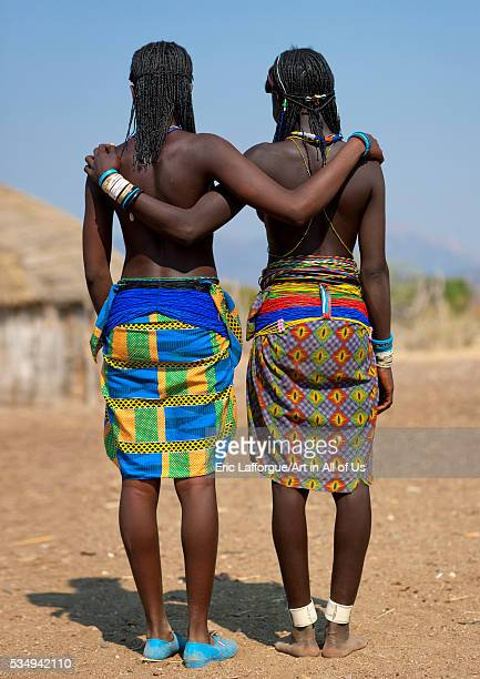 Angola Southern Africa Oncocua mucawana teenage girls proud of their beaded belts