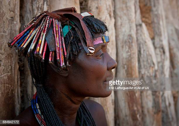 Angola Southern Africa Oncocua mucawana woman a kapapo headdress made of waste materials