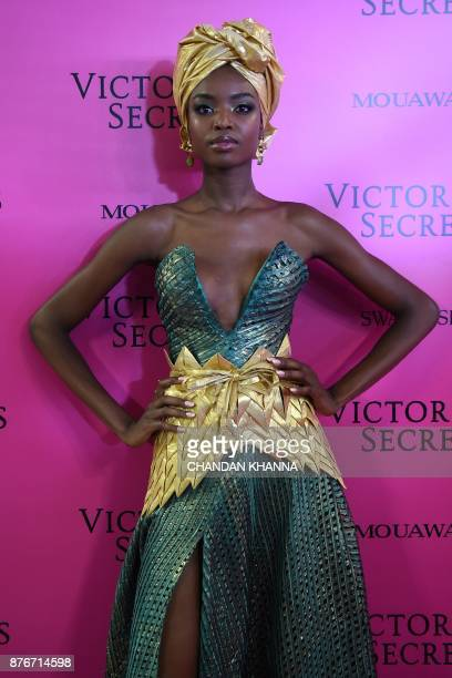 Angolan model Maria Borges poses as she arrives for the after party of the 2017 Victoria's Secret Fashion Show in Shanghai on November 20 2017 / AFP...