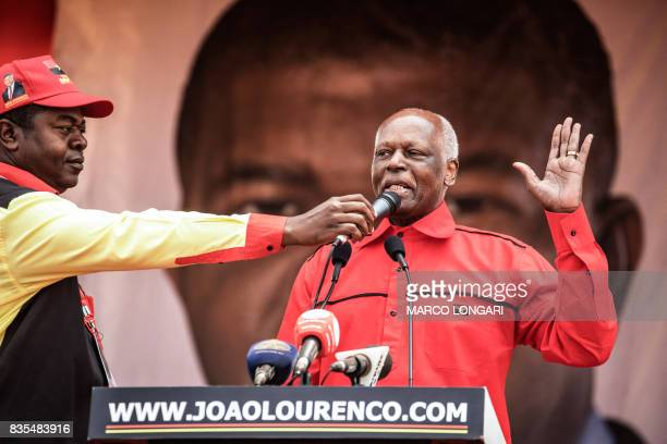 Angolan President and The People's Movement for the Liberation of Angola President Jose Eduardo dos Santos addresses supporters during the closing...