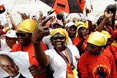 Angolan ruling Popular Movement for the Liberation of Angola party supporters attend on August 29 2012 the final rally of Angolan President Jose...
