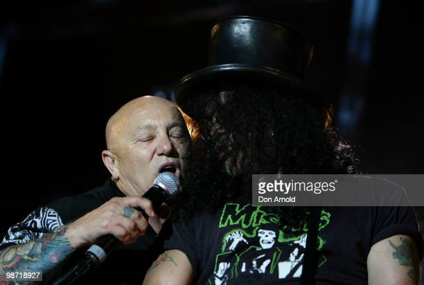 Angry Anderson and Slash perform on stage at the 'MTV Classic The Launch' music event at the Palace Theatre on April 28 2010 in Melbourne Australia...