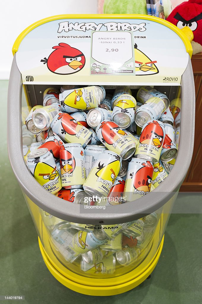 Angry Birds-branded soft drinks sit for sale at a store in Angry Birds Land, an Angry Birds-themed activity center within the Sarkanniemi adventure park near Tampere, Finland, on Friday, May 4, 2012. Rovio Entertainment Oy reported FY sales of EU75.4m. Photographer: Juho Kuva/Bloomberg via Getty Images