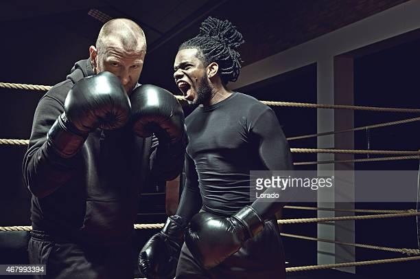 angry black bloke shouting at boxer