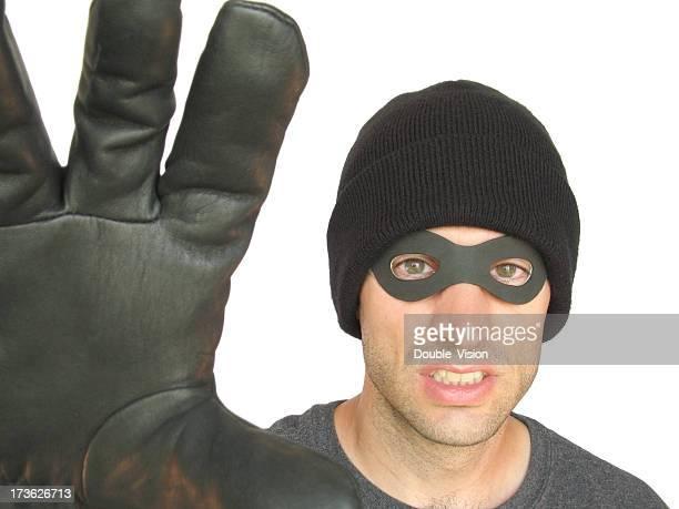 Wütende Black-Masken Einbrecher, Thief oder Straßenräuber Halte dich an