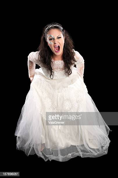 Angry bride yelling at camera.