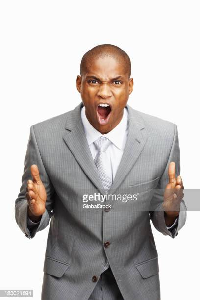 Angry businessman on white backgroud