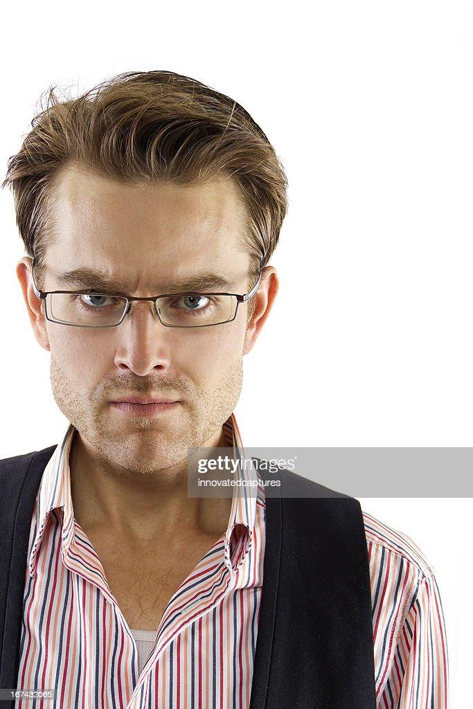 Empresario enojado blanca o ejecutivo con expresión graves : Foto de stock