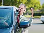 Angry driver shouting out car window