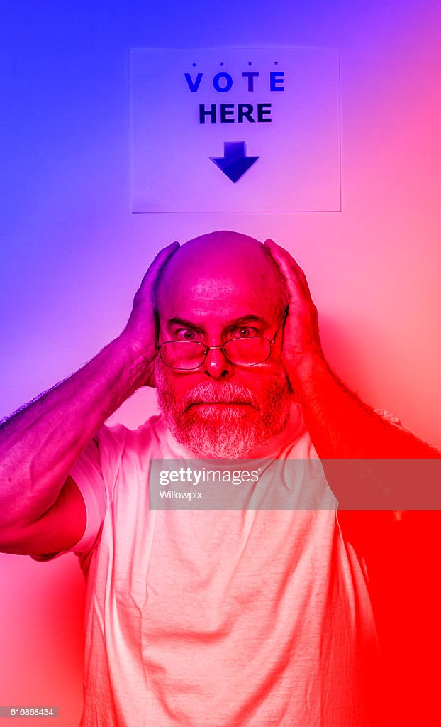 Angry Exhausted Frustrated USA Independent Voter Senior Man : Stock Photo