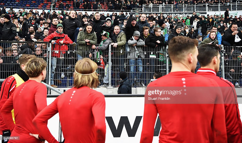 Angry fans of Hannover shouts at the players after the Bundesliga match between Hannover 96 and 1. FC Koeln at HDI-Arena on March 12, 2016 in Hanover, Germany.
