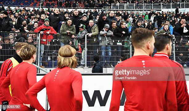 Angry fans of Hannover shouts at the players after the Bundesliga match between Hannover 96 and 1 FC Koeln at HDIArena on March 12 2016 in Hanover...