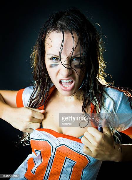 Angry Female Football Fan About to Rip Jersey Off