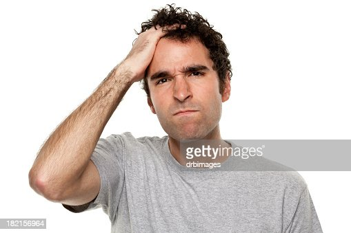 Angry Frustrated Man With Hand In Hair