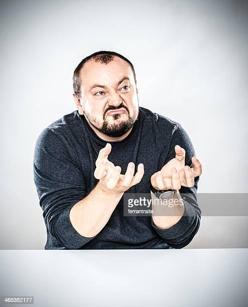 Angry Man Desk Portrait