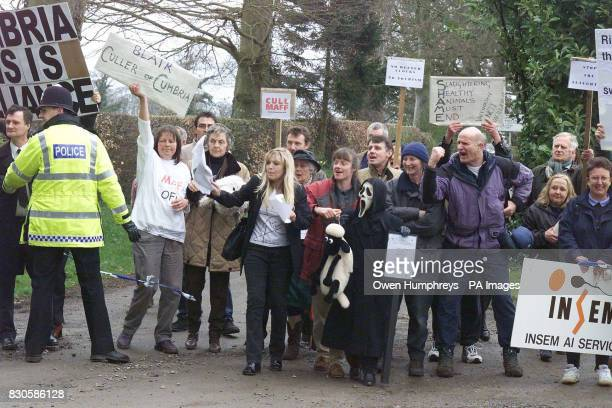 Angry scenes as people protest at the government's slaughter policy at Dalston Hall in Cumbria as Prime Minister Tony Blair arrives for a meeting...