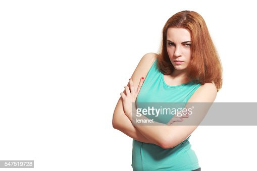 angry suspicious young woman : Stock Photo