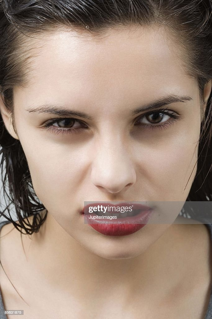 Angry woman snarling