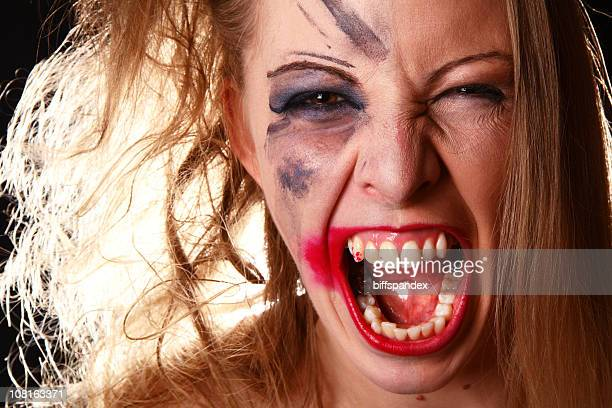 Angry Woman with Make-up Smudged on Half of Face
