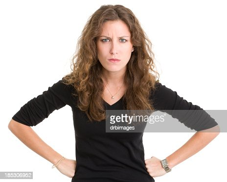Angry Young Woman Frowning