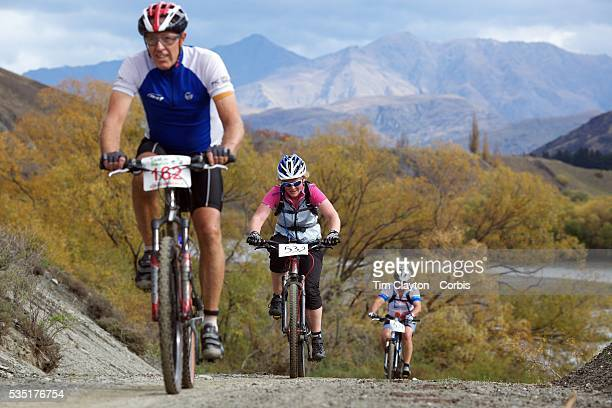 Angus Bradshaw Victoria Robertson and Shane Muir in during the New World Tour de Wakatipu bike race on Saturday Six hundred and ninety people entered...
