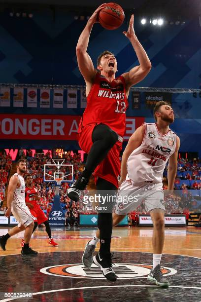Angus Brandt of the Wildcats lays up during the round two NBL match between the Perth Wildcats and the Illawarra Hawks at Perth Arena on October 13...