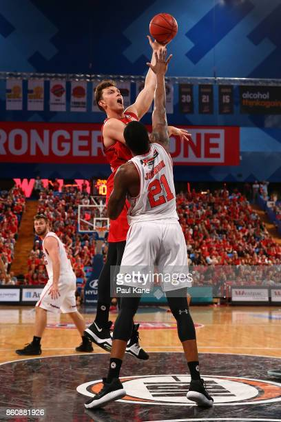Angus Brandt of the Wildcats puts a shot up during the round two NBL match between the Perth Wildcats and the Illawarra Hawks at Perth Arena on...