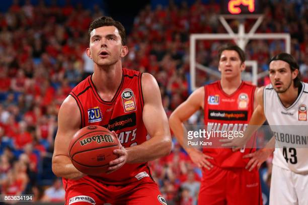 Angus Brandt of the Wildcats shoots a free throwduring the round three NBL match between the Perth Wildcats and Melbourne United at Perth Arena on...